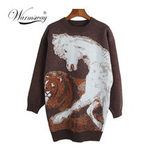 2018 New Novelty Women Autumn Winter warm Long Sleeve Fashion Cartoon Unicorn Pullover Sweater Tops Drop Shipping WS-010(China)
