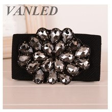 Vanled Luxury Brand Wide Jeweled Women Belts Floral Rhinestones Designed Elastic Belt  For Woman Reim Cinturon Wide Ladies Belt