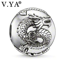 Dragon Pattern Beads Charms for Men DIY Silver Color Beads fit Pandora Necklace Bracelet Chain  TZ029