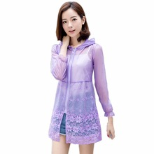 Buy Brand Summer Lady Sun Protection Jacket Coats Women Sunscreen Ultra Thin Coats Hooded Transparent Beach Lace clothes Breathable for $10.06 in AliExpress store
