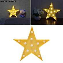 3D Marquee Star Lamp 11 LEDs Battery Operated Yellow Star Night Light Warm White(China)
