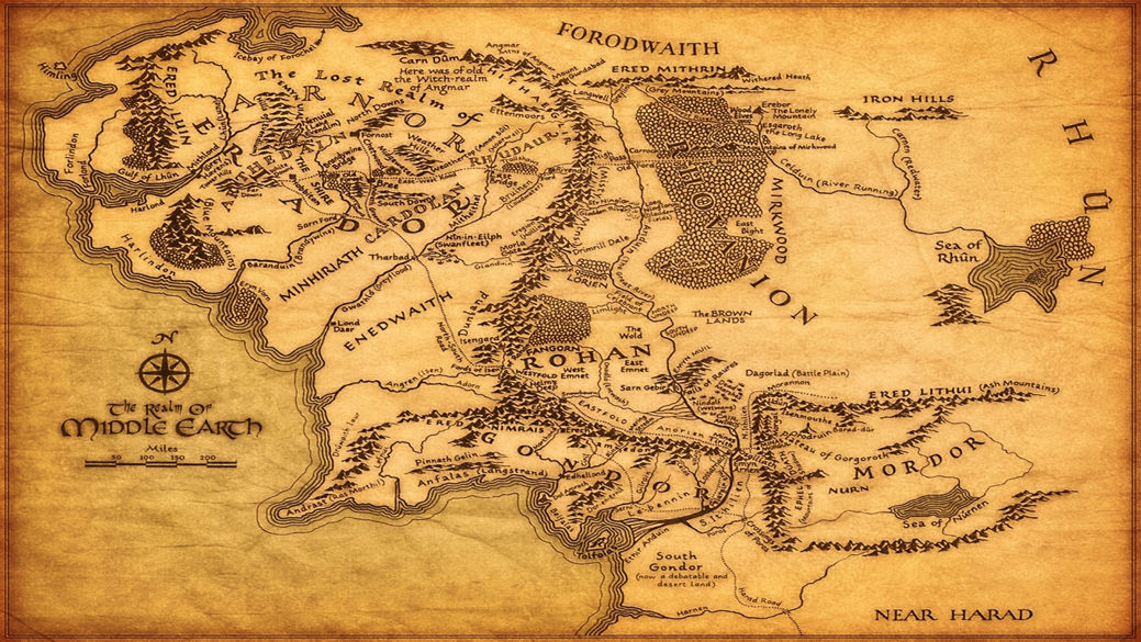 Map Of Middle Earth The Lord Of The Rings Map Fabric