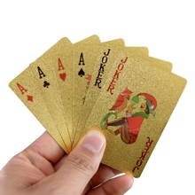 4K Carat Gold Foil Plated Poker Game Playing Cards Fashional Gift Collection And Certificate Camping Party Supplies New(China)