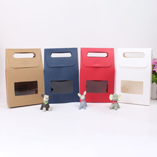 Handle Window Paper Box Wedding Favor Gift Candy Craft Tea Bakery Cookies Package Boxes Brown Blue White Red Color
