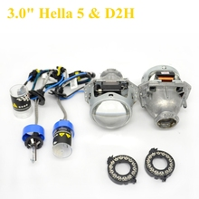 2pcs 3.0 inch hella 5 Bixenon hid Projector lens with d2h xenon bulb fast start 35w/55  D1S D2S D3S D4S hid xenon kit headlight