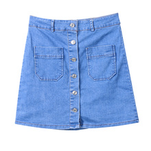 New Fashion Women's Denim High Waist Bodycon Button Pockets Slim Pencil Short Mini Skirts Stylish Womens A-line Denim Skirts