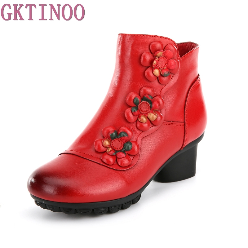 New 2018 Women Boots Fashion Platform Square high heels Genuine Leather Ankle boots For Woman Flower Design Ladies Shoes<br>
