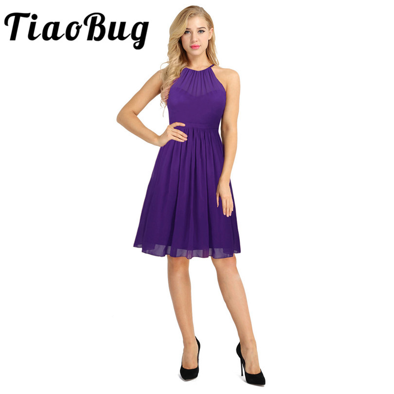 Tiaobug Elegant Women Ladies Bridesmaid Summer Knee-Length Dresses Women Chiffon Wedding Party Halter Formal Occasion Dresses
