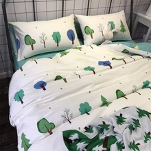 100% Cotton Tree Forest Bedding Set Green Bed Sheets Reactive Printing Nordic Duvet Cover Pillowcase Comforter Sets(China)