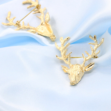 6pcs/lot Santa Reindeer Design Brooches Christmas Gold Deer Style Brooch Pins X'mas Party Ceremony Dress Up Decorations HX523