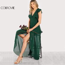 COLROVIE Green Deep V Neck Frill Sleeve Surplice Wrap Dress 2017 Sexy Sleeveless Ruffle A Line Dress Women Elegant Maxi Dress(China)