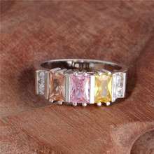 H:HYDE Nice Shipping 1pc silver Color pretty Colorful CZ cubic zirconia Shining ring Size 7-9(China)