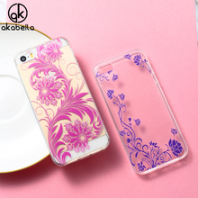 AKABEILA Mobile Phone Case For Apple iPhone 5 5S 5G 55S 6C Covers SE iPhone55s 4.0 inch Case Skin Shell Soft TPU DIY Painted Bag(China)