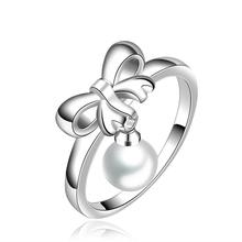Silver plated rings crystal Rings influx of people pearl  bow jewelry ring creative minimalist fashion sweet ring R593