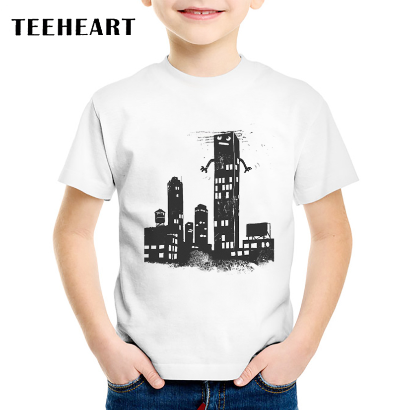 TEEHEART 2017 New Boys/girls Summer Vintage Building T Shirt High Quality Custom Printed Tops T-Shirt Fashion Hipster Tees TA776(China)