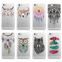Fashion Boho Dream Catcher Wolf Feather buffalo skull Soft TPU Phone Case Funda For iPhone 7Plus 7 6 6S 5 5S SE 4 4S 5C Samsung