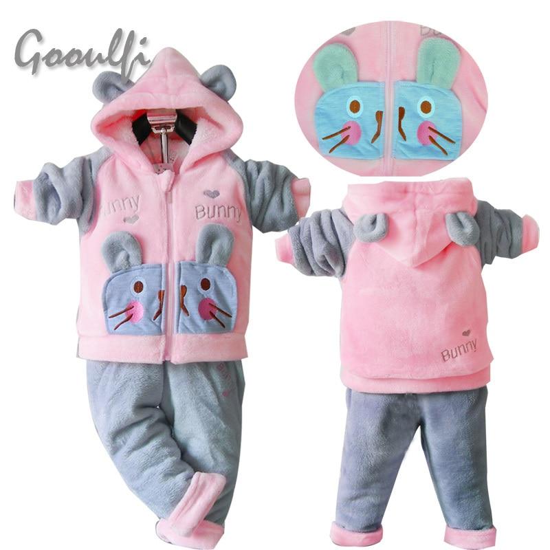 Childrens Hoody Clothing Fleece Rabbit Cartoon Winter Clothes New Year Girls Christmas Suit Set Pajamas<br><br>Aliexpress