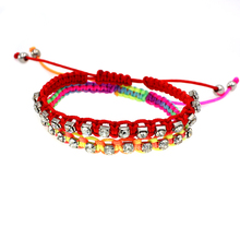 Promotion!!! Lovely Cute Candy Color Handmade rope woven Crystal Friendship Red Bracelet For Young Girl