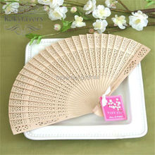 FREE SHIPPING 120PCS X Sandalwood Fans with Satin n Cherry Blossom Tag Wedding Party Favors Birthday Gifts Ideas(China)