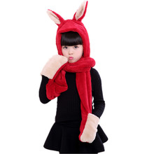 Cute Rabbit Hooded Children's Scarf Hats Double Layer Faux Rabbit Fur Girls Scarfs Kawaii Cartoon Long Fur Scarf for Boy Scarves(China)