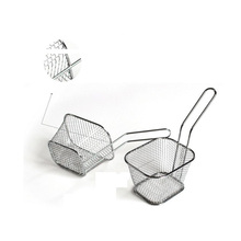 ZMHEGW Qualified Kitchen Tools 1pc Electroplate Stainless Steel Mini Frying Basket Mesh Basket Strainer Net 2017 GIFT Dropship(China)