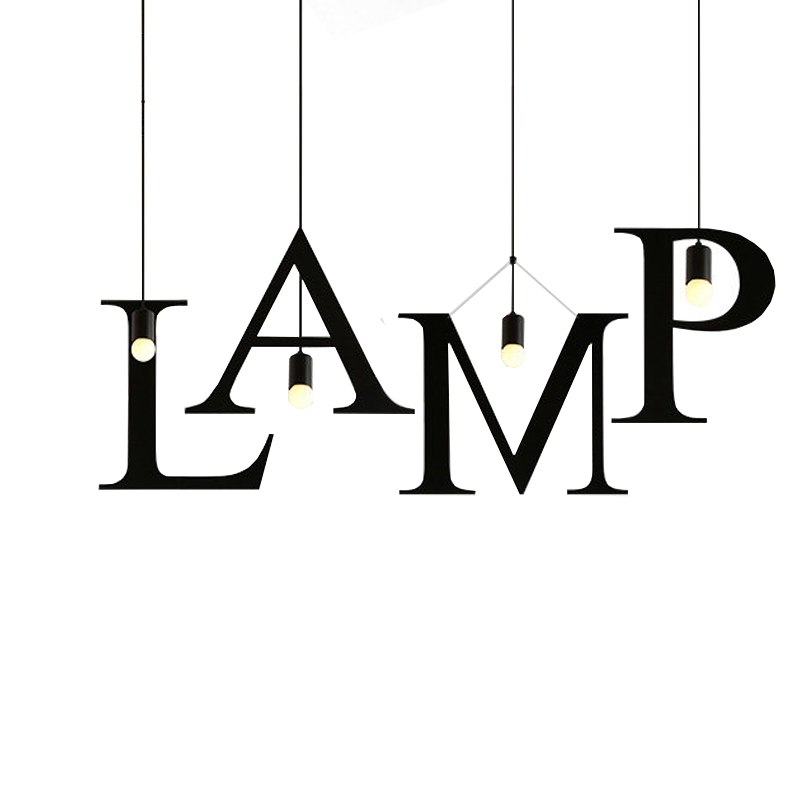 Creative design 26 letters DIY iron Pendant lighting,industrial style bar restaurant cafe study room suspension LED lamp light<br>