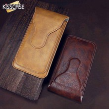 "KISSCASE 5.5"" Universal Leather Phone Bag Cases For iPhone 7 6 Dual Layer Belt Wallet For Samsung Huawei Sony Bags Pouch Holster"