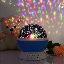 Children Kids Baby Sleep Lighting Romantic Rotating Spin Night Light Projector  Sky Star Master USB Lamp Led Projection