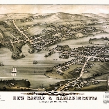 Historic Map of New Castle Maine 1878 Lincoln County Poster Print (36 x 54)