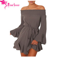 Dear Lover Women Autumn 2017 Sexy Ladies Off Shoulder Flare Long Sleeve Drop Hem Pleated Mini Dress Vestidos Mujer Fall LC220116(China)