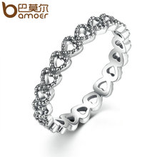 BAMOER Romantic Silver Color Heart Heart Ring AAA Zirconia Cheap Rings Women Wedding Jewelry Dropship PA7218