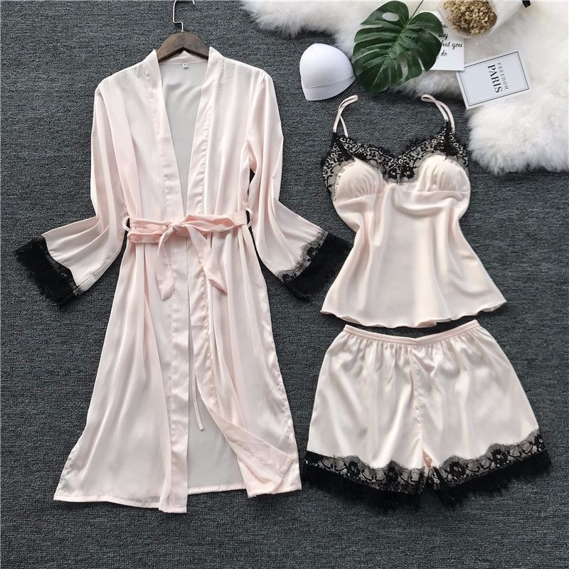 Freshing Summer Black Lace Ice Silk Women Pajama Set Long Sleeve With Pad Nightdress+Robe+Shorts Pajamas