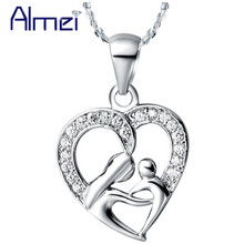 Almei  Fashion Crystal Heart Mothers Daughter Pendant Necklace for Women Female Mother's Day Gift Trendy 2017 Charm Jewelry N595