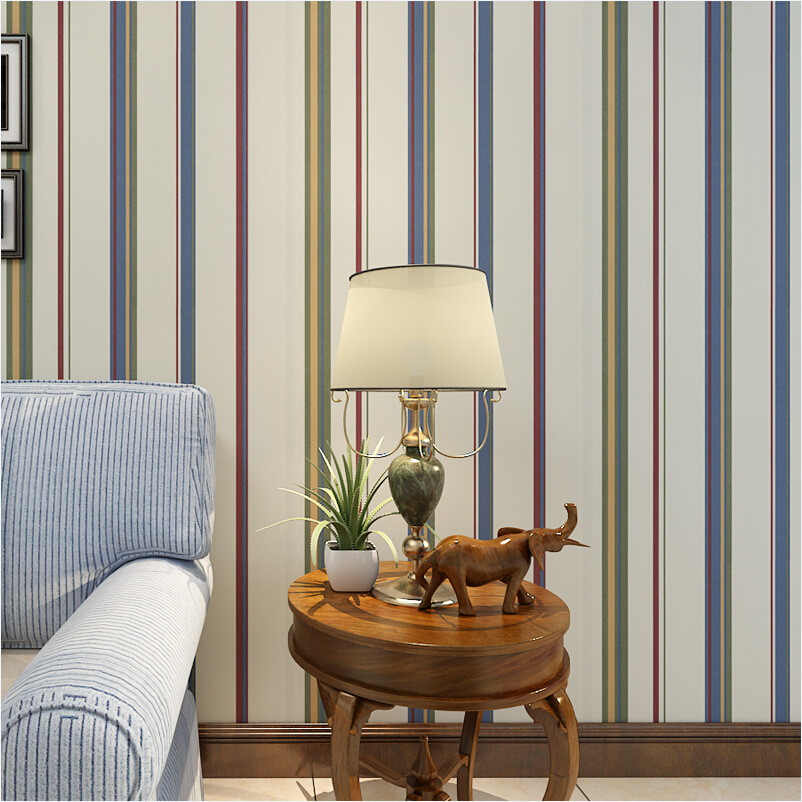 Environmental protection pure paper wallpaper modern minimalist British style striped bedroom living room wall full wallpaper<br>