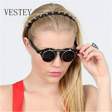 VESTEY Luxury Steampunk Sunglasses Men Women Wrap Eye Glasses Round Shades Brand Designer Sun glasses Mirror High Quality UV400