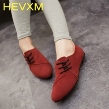 HEVXM Spring And Autumn New Casual Women Shoes Women Nubuck Leather Lace-Up Flat Shoes Handsome Head Toe Shoes Free Shipping