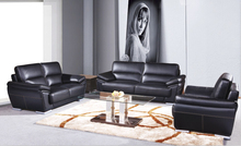 Sofa set living room furniture with genuine leather modern design leather sofa Black