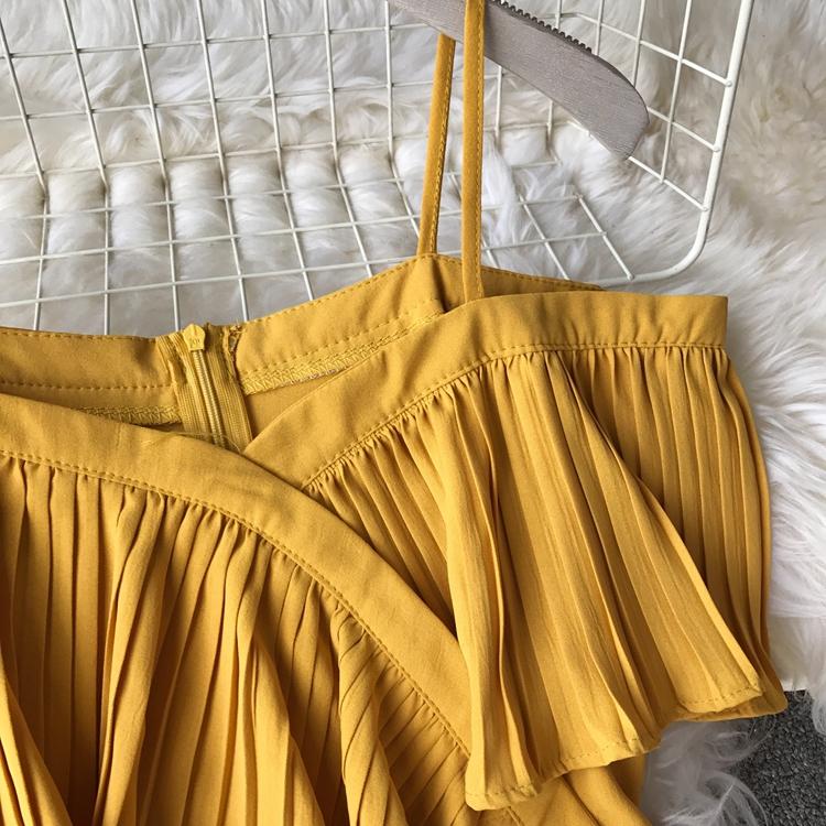 2019 Spring Women Chiffon Pleated Braces Sling Spaghetti Strap Goffer Long Dress Ladies Ruffles Empire Drapped Swing Slip Dress 211