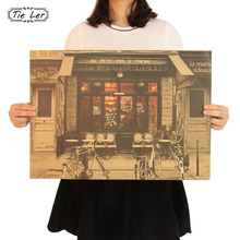 TIE LER Cafe Front Lovers Nostalgia Kraft Paper Poster Family Decorate Poster Paper Crafts Vintage Wall Sticker 51.5X36cm