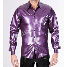 Free shipping!! Men rubber fetishes latex shirt