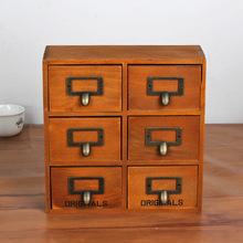 1PC Zakka multi drawer type wooden grocery retro wood cabinets wooden storage box with 6 drawers JL 0948(China)