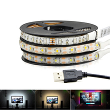 LED Strip light DC 5V USB Powered LED Ribbon Tape Lamp 3528 RGB/ White/ Warm 50CM 1M 2M Waterproof For TV Background Decoration(China)