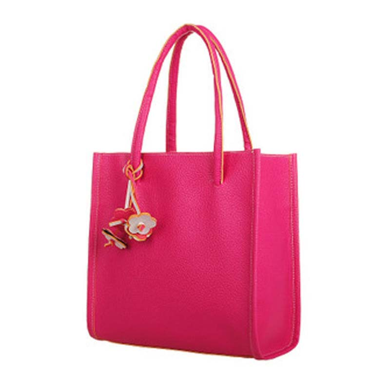 5) TEXU Fashion Girls Handbags Trendy Leather Shoulder Bag Candy Color Flowers Totes Rose red<br>