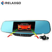 "Relaxgo 4.3"" Car Rearview Mirror DVR Full HD 1080P Car Camera Parking Night Vision Car DVR Dual Camera Video Recorder Black Box"