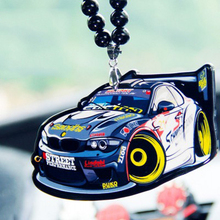 Blue White WRC Racing Sport Car Double Sides Printed Badge Fashion Pendant Car Rearview Mirror JDM Ornament Hip Hop Necklace