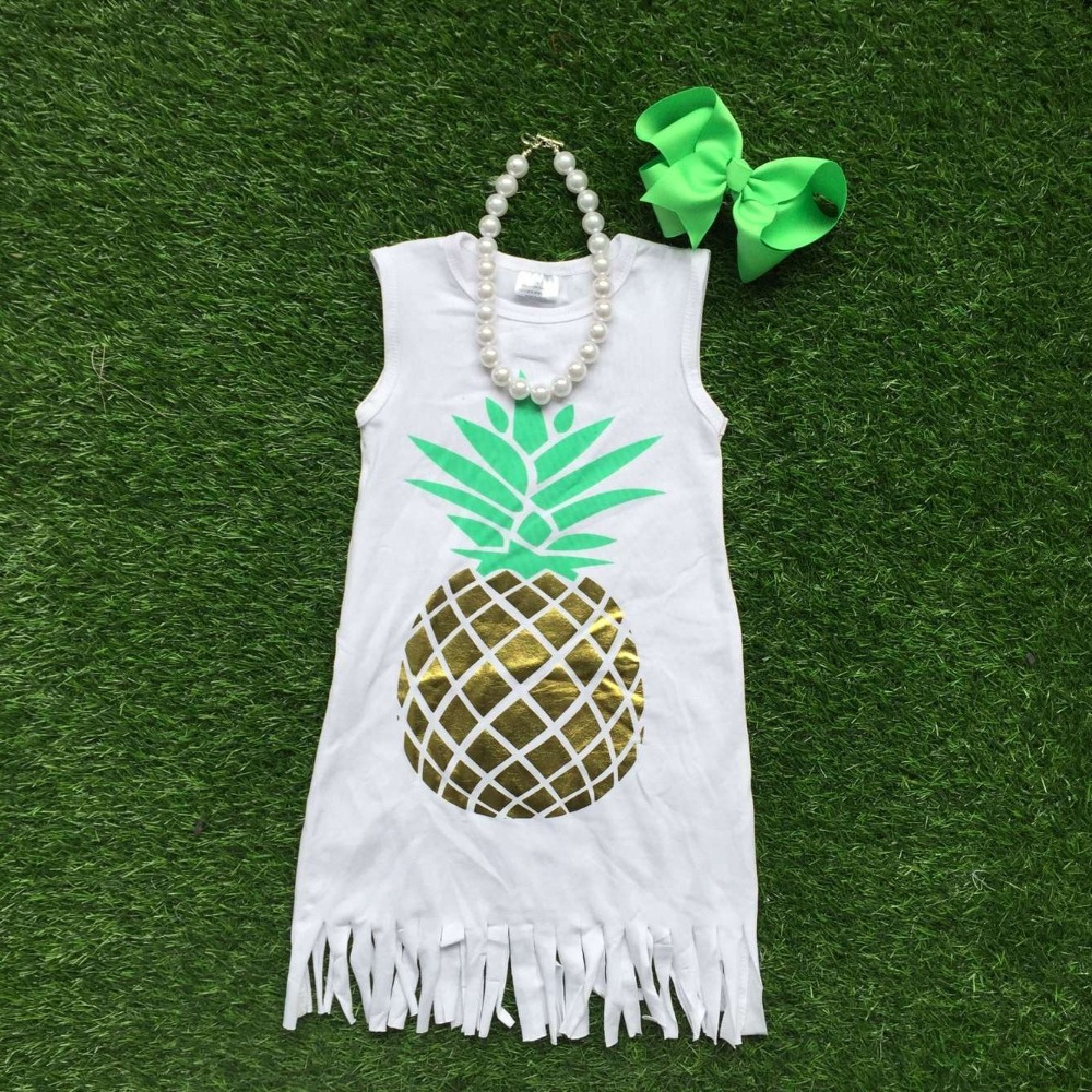 2017 free shipping girls summer dress 1-9t baby kids  pineapple dress girl tassels dresses with matching bows and necklace set<br><br>Aliexpress