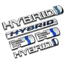1 PCS 3D ABS Chrome HYBRID Synergy Drive Refitting Emblem HYBRID Badge Trunk Logo car Stickers Car Styling(China)