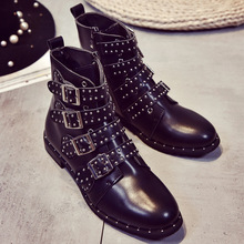 2017 New Leather Rivets Booties Buckle Straps Thick Heel Black Ankle Boots Studded Decorated Motorcycle woman Boots