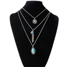 Trendy High Quality Ethnic Women Vintage Alloy&Turquoises Long Pendant Necklaces With 3pcs Clavicle Chain Jewelry wedding gift