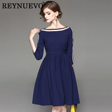 Career Dresses Fashion 3/4 Sleeve Autumn Winter 2017 Hot Sale Fresh Women Elegant Dark Blue European Knee Length Runway Dress(China)